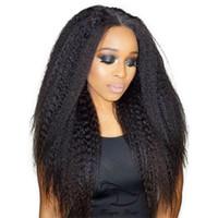 bakire kinky düz dantel peruk toptan satış-360 Tam Dantel İnsan Saç Peruk 8A Bakire Perulu Saç Siyah Kadınlar Için kinky Düz Afro Dantel Peruk Bebek Saç Freeship