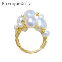 Wholesale fresh pearls set resale online - BaroqueOnly NEST Ring Multiple Size White Pearls Wired Rings Real Fresh Water Baroque Wedding Pearl Ring