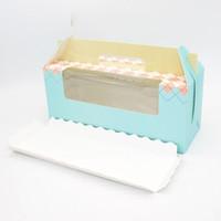 tasse kuchen blau großhandel-Verpackung Geschenkbox 3 Gitter Tragbare Wrap Rosa Blau Papier Tasse Kuchen Roll Backen Multicolor Festliche Partei Liefert 0 58yd V