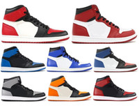 Wholesale black toe shoes - New 1 High OG Game Royal Banned Shadow Bred Toe Basketball Shoes Men 1s Shattered Backboard Silver Medal Sneakers High Quality With Box