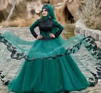 Wholesale yellow veil resale online - Dark Green Lace Appliques Muslim Prom Dresses With Hijab Veil Long Sleeves Formal Party Gowns High Neck Dubai Arabic Evening Dresses Cheap