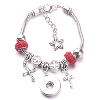 Wholesale small snap charms online - 2018 New DIY Bracelet Silver Various small Pendant Crystal Beads Chain beads Fit mm Snap button Jewelry A47