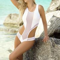 ternos sexuais brancos das mulheres venda por atacado-One Piece Swimwear Womens Sexy Transparente Gaze Bodysuits Ternos De Natação Da Praia Alta Corte Preto / Branco 1 Peça Trikinis Maiôs