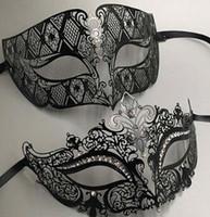 trajes de hombre al por mayor-Lujo Metal Filigrana Rhinestone Mascarada Veneciana Pareja Máscara Par Bola Evento Boda Máscara Fiesta Mucho Traje HOMBRE MUJER