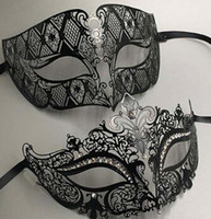 Wholesale face masks metal resale online - Luxury Metal Filigree Rhinestone Venetian Masquerade Couple Mask Pair Ball Event Wedding Party Mask Costume MEN WOMEN