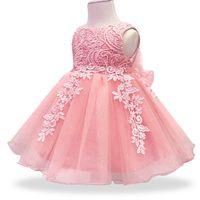 prenses vaftiz için kıyafetler toptan satış-Bebek Kız Elbise Dantel Çiçek Vaftiz Elbisesi Vaftiz Elbise Yenidoğan Çocuk Kız 1 yıl Doğum Günü Prenses Bebek Parti Kostüm