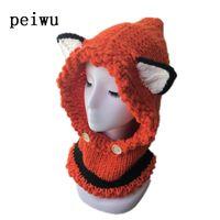 детские шапки kawaii оптовых-Kawaii Cat  Ear Baby Knitted Hats with Scarf Set Winter Windproof Kids Boys Girls Warm Shapka Caps for Children Beanies Caps