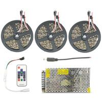 kit de cinta de color al por mayor-5050 60led / m Cinta de luces de tira de cinta LED RGB WS2811 IC Cinta de cinta de color de sueño flexible 5m 10m 15m 20m 25m Kit impermeable IP67 IP20
