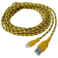 trenza amarilla al por mayor-HFES 3M Tela trenzada Micro USB DataSync Cable de cargador Cable para teléfono celular Amarillo