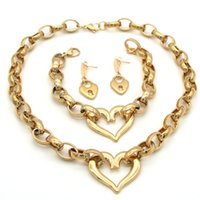 Discount fashion necklace sets for women - Newest Jewelry Set Stainless Steel Heart Pendant Necklace & Bracelet and Lock Earrings for Women Fashion Jewelry La MaxZa