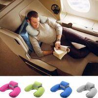 Wholesale car seat head rest pillow - U Shape Neck Pillow Neck Support Head Rest Car Travel Outdoor Office Plane Hotel Flight Pillow With Pouch Car Styling Pillow CCA9553 30pcs