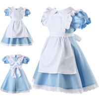 Wholesale alice costume xl resale online - Alice in Wonderland Girls Fancy Dress Maid Lolita Costume Cosplay Outfits Set for Kids Girls Halloween dress Y1891203