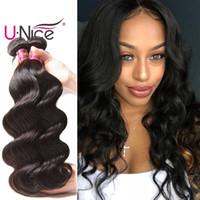 Wholesale Wavy Bulk Hair - UNice Hair Virgin Body Wave Human Hair Bundles 3 Bundles Brazilian Peruvian Indian Malaysian Hair Weaves Wet And Wavy Nice Wholesale Bulk