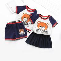 ingrosso vestiti dell'orso del bambino-New Spring Baby Abbigliamento per bambini Set Stripe Bear Shirt + Shorts / skirt 2 pezzi Suit Suit Vestito per ragazza da bambina in cotone
