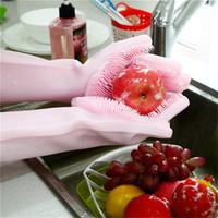 magische handschuhe geben verschiffen frei großhandel-1 Paare Silicon Dish Scrubber Gummihandschuhe Food Grade Reinigungsschwamm Geschirrspülpinseln Magic Silikon Handschuhe DHL-freies Verschiffen