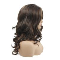 frange de perruque moyenne et noire achat en gros de-20 pouces longue perruque synthétique ondulée avec Ombre Bangs Medium Brown perruques de couleur haute température fibre pour femmes noires