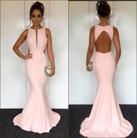 Wholesale cut out floor length dress resale online - 2018 Elegant Pearl Pink Satin Mermaid Long Prom Dresses Cut out Hollow Back Length Formal Party Evening Dresses