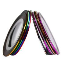 autocollants 1mm achat en gros de-10 Couleurs 1mm Rolls Nail Art Rayures Glitter Striping Tape Ligne Autocollant DIY Nails Décorations Ligne Accessoires Conseils JINC391