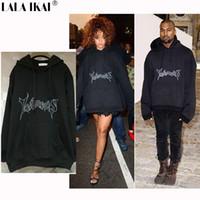 Wholesale tyga sweatshirts - Letements Oversized Hoodies Men Hooded Letter Vetements Kanye West Cotton Sweatshirts Men Swag Tyga Justin Bieber free drop shipping