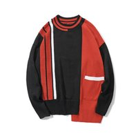 Wholesale Hip Hop Irregular Color Block Patchwork Knitted Sweaters Streetwear Fashon Casual Mens Pockets Pullover Sweater