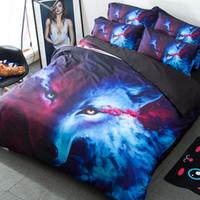 lobo conjuntos de fundas nórdicas al por mayor-4 Unids / set Conjuntos de ropa de cama 3D Cool Wolf Patrón de Animal Funda Nórdica Funda de Almohada Hoja de Hombre Artículos para el hogar Impresión de Arte Ropa de Cama 179kq bb