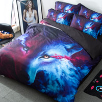 Wholesale patterned bedding sets online - 4Pcs Set Bedding Sets D Cool Wolf Animal Pattern Duvet Cover Pillow Case Man Sheet Home Supplies Art Print Bed Clothes kq bb