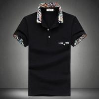 erkek şık gömlekleri toptan satış-Yaz Homme erkek kısa kollu çiçek yaka pamuk mens katı nefes gömlek Casual Stil s Artı boyutu 5XL