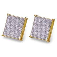 Wholesale gold earrings for sale - Hiphop Stud earrings for women men gifts Luxury boho white Zircon square Dangle earrings gold plated Vintage geometric Jewelry
