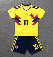 Wholesale football clothing sale - 2018 World Cup Soccer Jerseys kids kit Colombia home #10 JAMES soccer clothes #9 FALCAO CUADRADO Child football shirt Sales custom uniforms
