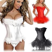 ingrosso biancheria intima del corsetto-2017 nuovo sexy del merletto raso della biancheria fino corsetto Mini Tutu Petticoat Skirt Costume 3 pezzi 3Color S-2XL