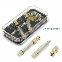 Wholesale e cigarette oem - Brass Knuckles Pyrex Glass Golden Cartridge Vaporizer 510 Thread Dual Coil Atomizer OEM Available Vape E Cigarette Cigs