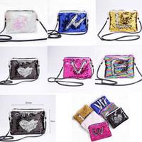 Wholesale sequin bag clothing online - 6 COLORS Mermaid Sequins Envelope Shoulder Bags Magic Reversible Sequins Coin Wallet Purse Travel Party Crossbody Bag Storage Bags GGA752