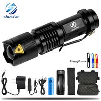 Wholesale Mini Zoom XML T6 L2 Flashlight Led Torch mode Lumens waterproof Rechargeable battery give free gift
