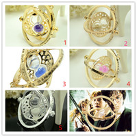 Wholesale Hourglass Necklaces - Film 5 styles myth necklace Hot Selling Gold plated Harry necklace Potter time turner necklace Rotating Spins Hourglass Pendent Jewelry gift