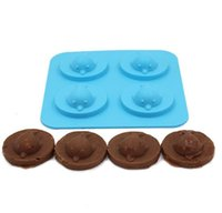 Wholesale Chocolate Bar Cake - Creative 4 Holes 3D Dolphin Ice Mold Silicone Ice Cube Tray DIY Cake Chocolate Mold Maker Whiskey Wine Bar Accessories Tools Free Ship