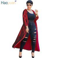 cardigan vermelho aberto venda por atacado-Haoyuan vermelho ouro rosa cardigan de lantejoulas jaqueta outwear mulheres roupas manga cheia plus size ponto aberto elegante outono longos casacos