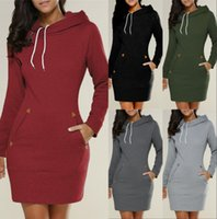 Wholesale women s warm clothing for sale - 2018 New Arrive Hooded Sweatshirts Long For Women Autumn Winter Warm Top Overcoats Casual Dress Clothing With Pockets Longe FS5932