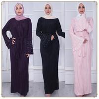 abayas modernos al por mayor-Perla musulmana Abaya Ramadán musulmana prensada 3 capas vestido de moda moderna de la manga del cuerno