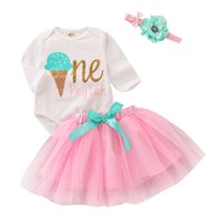 Wholesale Mikrdoo Toddler Infant Baby Girls Clothes Set Ice Cream Print Long Sleeve Romper Tutu Skirt with Headband Cute Outfit