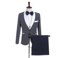 Wholesale black dot pants - Groomsmen Navy Blue with Dot Groom Tuxedos Shawl White Lapel Men Suits Side Vent Wedding Prom Best Man Blazer ( Jacket+Pants+Vest+Tie ) K939