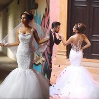 Wholesale sweetheart neckline puffy wedding dresses for sale - Group buy African Sexy Mermaid Wedding Dresses Crystals Sweetheart Neckline Lace Appliques Straps Illusion Back Beads Puffy Tulle Trumpet Bridal Gown