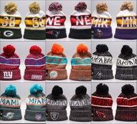 fußball winterhüte großhandel-Günstige New Ankunft Beanies Kappen American Football 32 Teams Beanies Sports Winter Seitenlinie Strickmützen Beanie Strickmützen Tropfen shippping