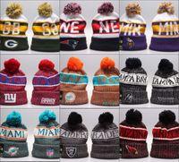 amerikan futbolu sporları toptan satış-Ucuz Yeni Varış Kasketleri Şapkalar Amerikan Futbolu 32 ekipleri Kasketleri Spor kış yan hat örgü kapaklar Beanie Örme Şapkalar bırak shippping