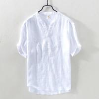 keten şortu toptan satış-Saf Keten Gömlek Erkekler Kazak Emboriderd Kısa Kollu Mandarin Yaka Casual Gömlek Adam Yaz 100% Keten Elbise Gömlek TS-410