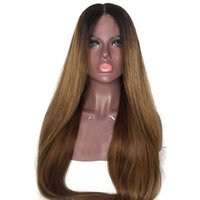 Wholesale medium long straight hair for sale - LIN MAN Ombre Color Lace Front Human Hair Wigs with Baby Hair Density Pre Plucked Hairline Remy Brazilian Hair Glueless Wigs