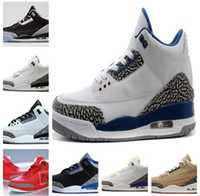 Wholesale High Cut Black Tennis Shoes - New High Quality Tennis Shoes 3 3s White Cement Black Cement 3s White Blue Basketball Shoes Men Sports Sneakers With Shoes Box