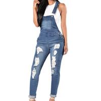 ingrosso moda i jeans lunghi-2018 Tute di jeans Donna Moda Foro strappato Tute lunghe Jeans Tute Femminile Casual Lavato Scavature svasate