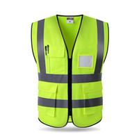 ingrosso vestiti di sicurezza ciclo-Gilet riflettente di alta visibilità di trasporto libero che lavora motociclo che cicla sport all'aperto di sicurezza abbigliamento multi tasche sicurezza degli abiti da lavoro