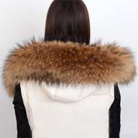 frauen pelz schals großhandel-Heißer Verkauf Natürlichen Pelz Winter 100% Waschbärpelz Echten Kragen Damen Schals Mode Mantel Pullover Schals Kragen 70 cm L # 53