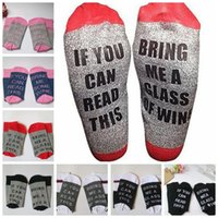 Wholesale cotton coffee sock - Women men Letter print socks If You Can Read This Bring Me A Glass of Wine Cold Beer Coffee socks 12 design KKA3867